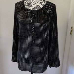 Vince Camuto Pintuck Pleated Blouse Large